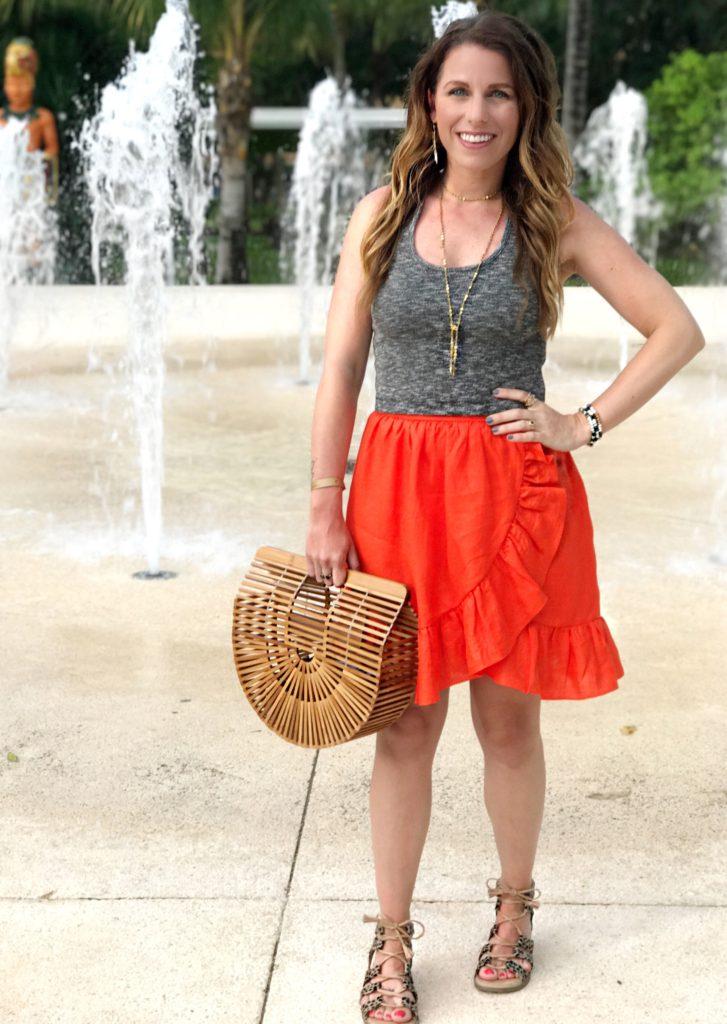 red ruffle skirt ark bag