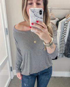 LOFT Fall 2018 Striped Dolman Shirttail Tee Jillian Rosado