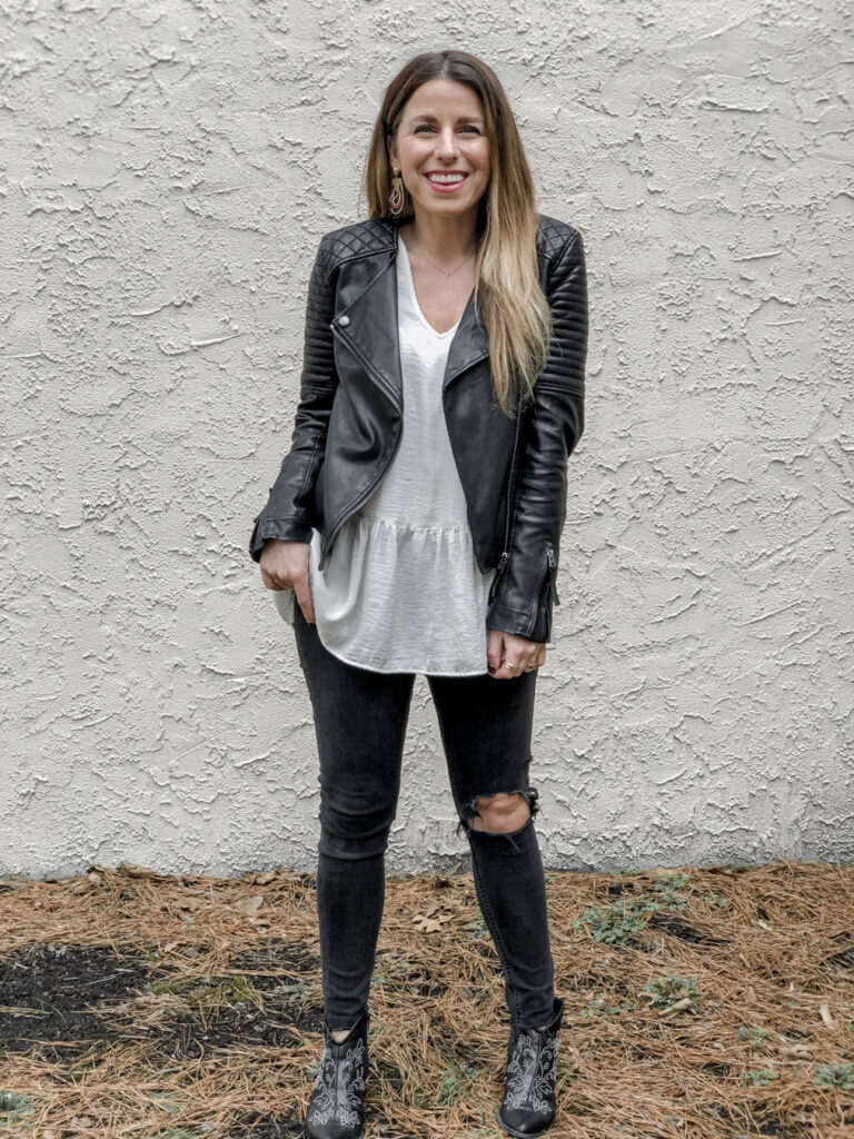 Leather-Jacket-Outfit-Peplum-Top-Mom-Style