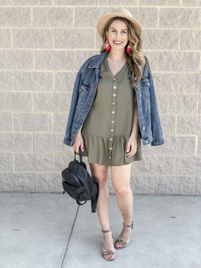 Amazon Peplum Dress Jean Jacket Madewell Backpack Stella & Dot Luna Pendant Leopard Heels