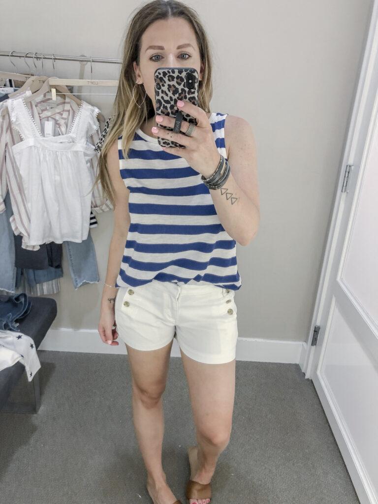 LOFT Striped Vintage Soft Tank White Denim Sailor Shorts