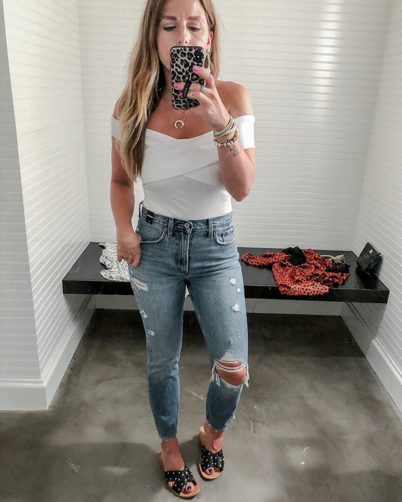 abercrombie distressed mom jeans