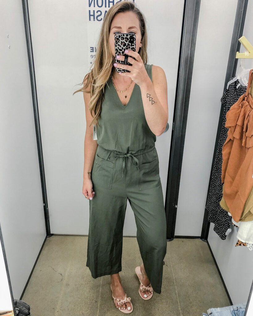Waist-Defined Sleeveless V-Neck Jumpsuit